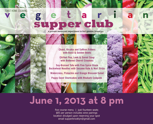 vegetarian five course supper club with paired wines in brooklyn