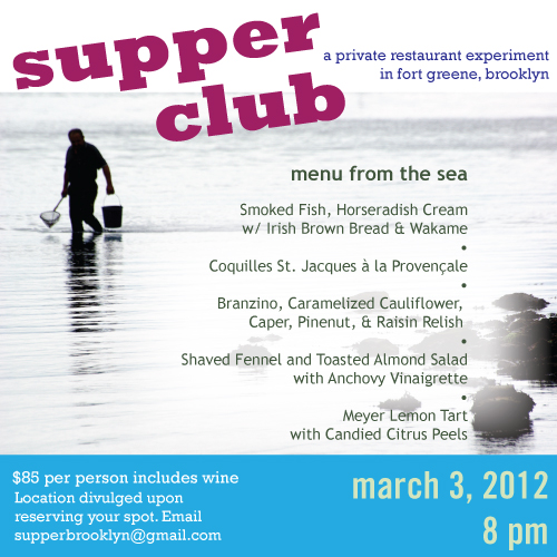 invitation to March 3, 2012 supper club
