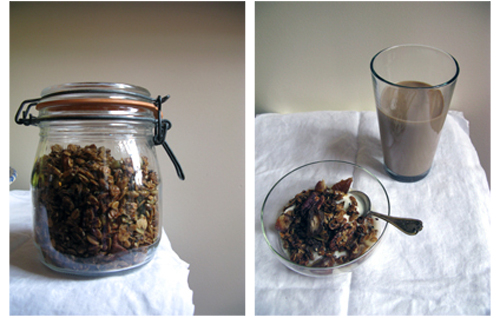 homemade granola with medjool dates and plain yogurt