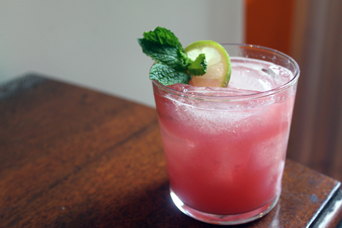 a sweet and sour cocktail, rhubarb caipirinha