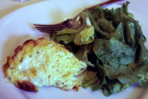 serve soufflé with boston lettuce in a mustard vinaigrette