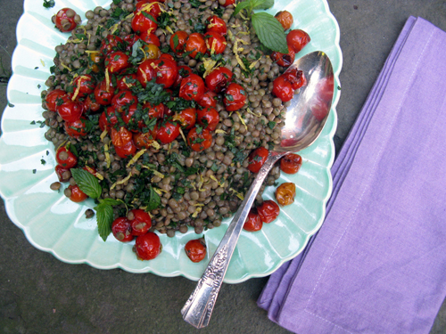 lentils with blistered tomatoes