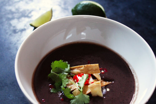 winter soup from canned beans with flavorful toppings