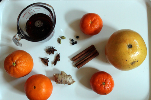 ingredients for spiced citrus salad