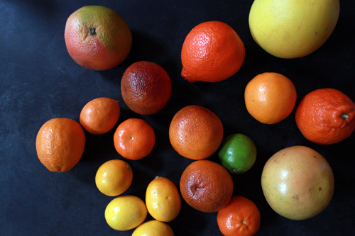 whole citrus fruits in rainbow colors